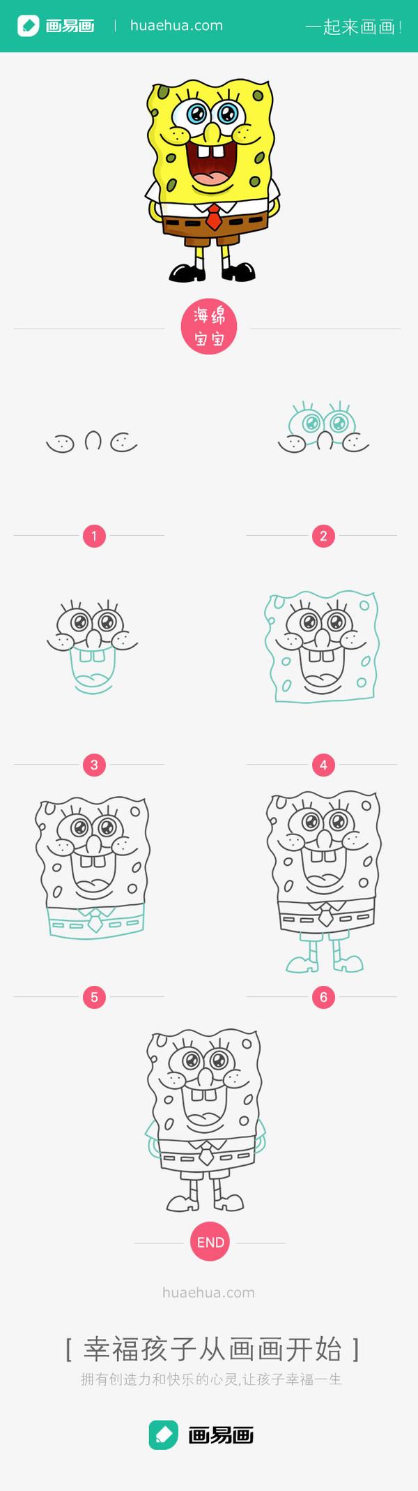 和我一起画简笔画海绵宝宝