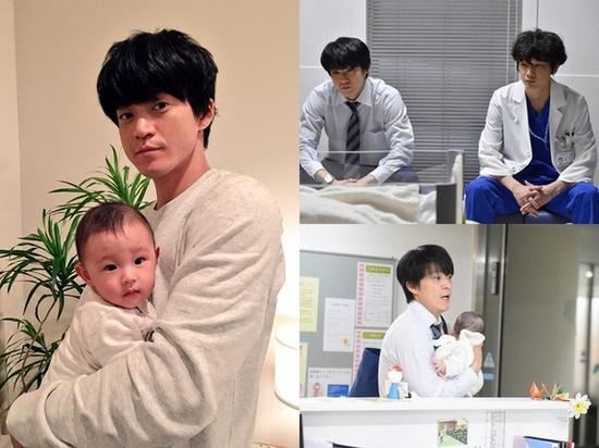小栗旬出演日剧《产科医鸿鸟》,饰演独自抚养女儿的爸爸,当时抱着新生儿(左)是征选的小演员!