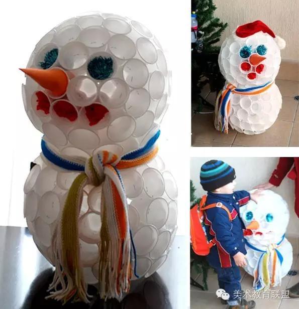 白色一次性杯子创作的雪人