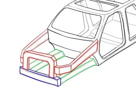 汽车内部结构手绘