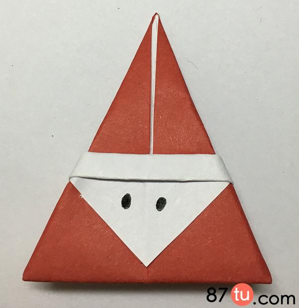儿童折纸卡通圣诞老人折纸图解教程