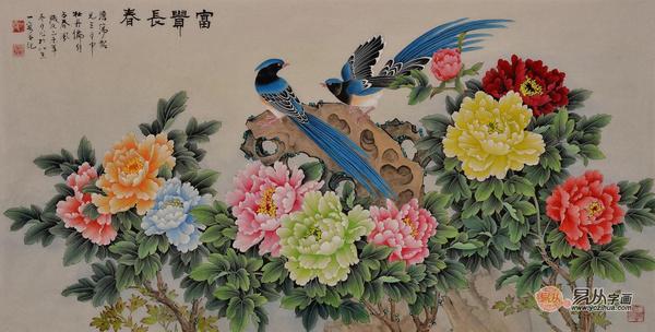 丹 王一容重彩工笔画牡丹孔雀图《富贵呈祥》 作品来源:易从网-中