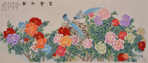 笔画牡丹孔雀图《富贵呈祥》 作品来源:易从网-送长辈名人字画 易