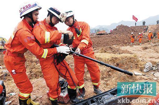深圳滑坡灾害:80名消防奋战一线 一天仅睡3小