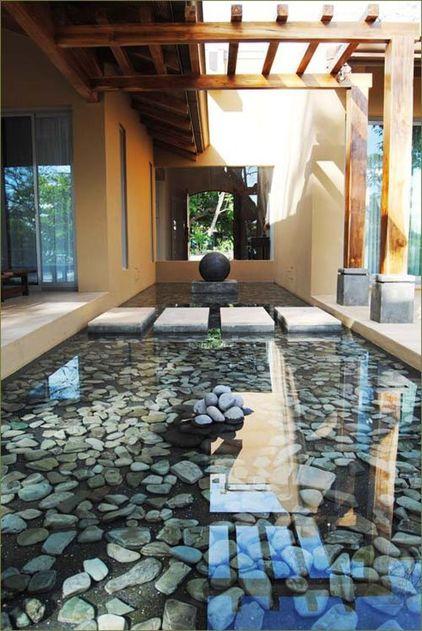 别墅装修:别墅水景竟美!座钟铜水晶庭院图片