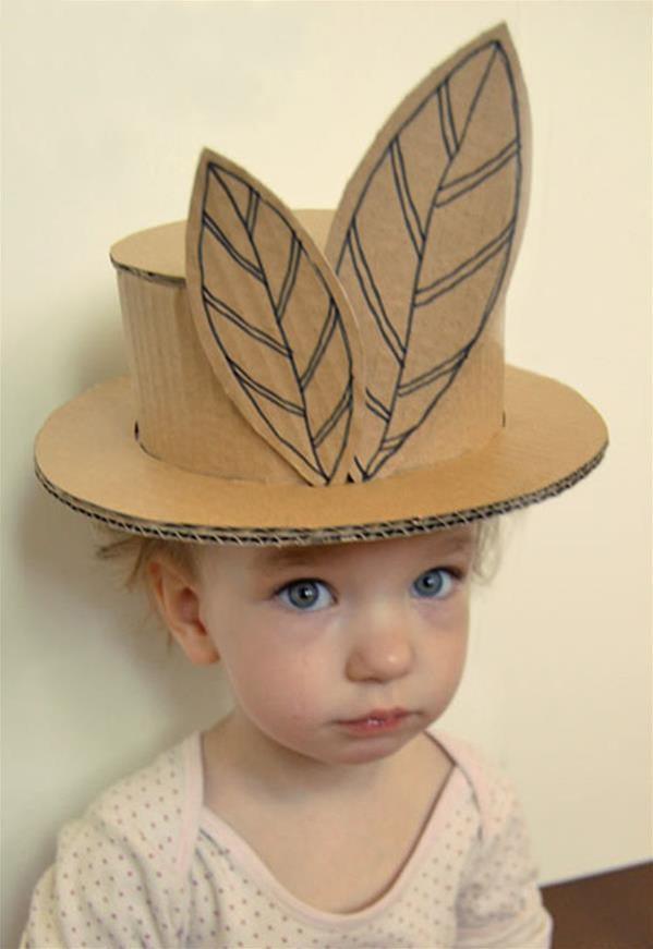 瓦楞纸纸板手工制作漂亮的儿童舞会帽子