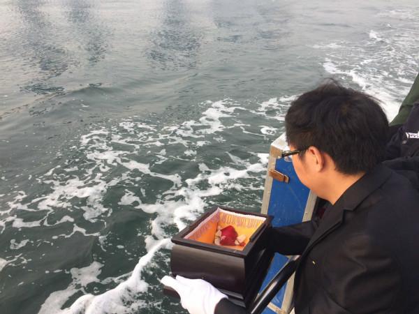 10月14日,父母将涛涛的骨灰撒向大海