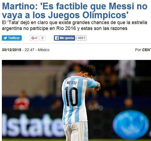 马蒂诺认为梅西不需要参加里约奥运