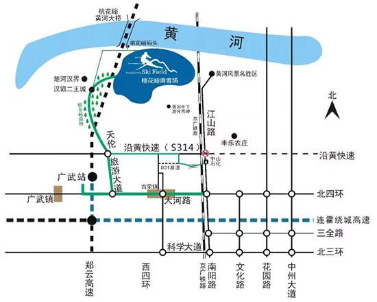 桃花峪滑雪场 桃花峪滑雪场,位于郑州荥阳市桃花峪旅游风景区内,即从