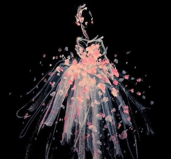 婚纱水彩手绘图时尚