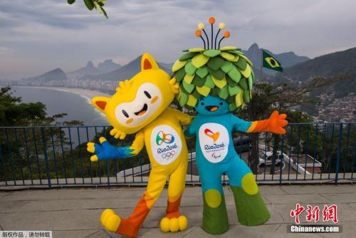 主色调为黄色的里约奥运吉祥物代表巴西的动物,其中有猫的灵性,猴子