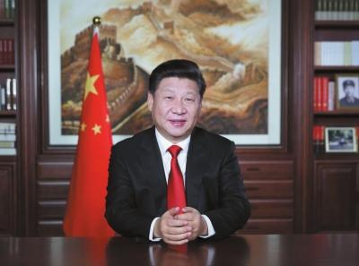 国家主席习近平发表二一六年新年贺词。新华社发