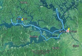 2015年12月16日,在黄石水库调查的中华秋沙鸭路线图。
