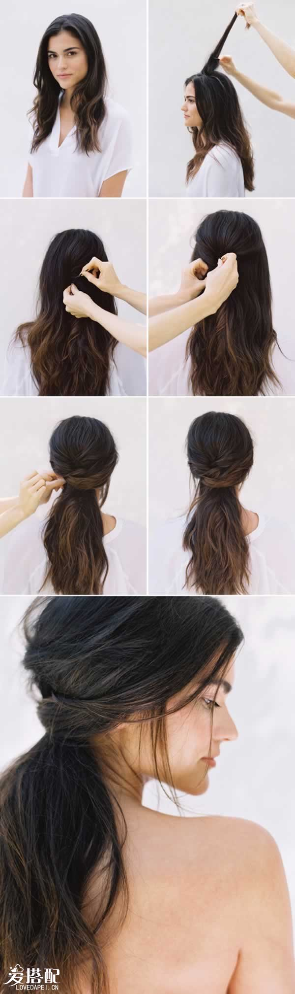 半挽lob发型 编发图解