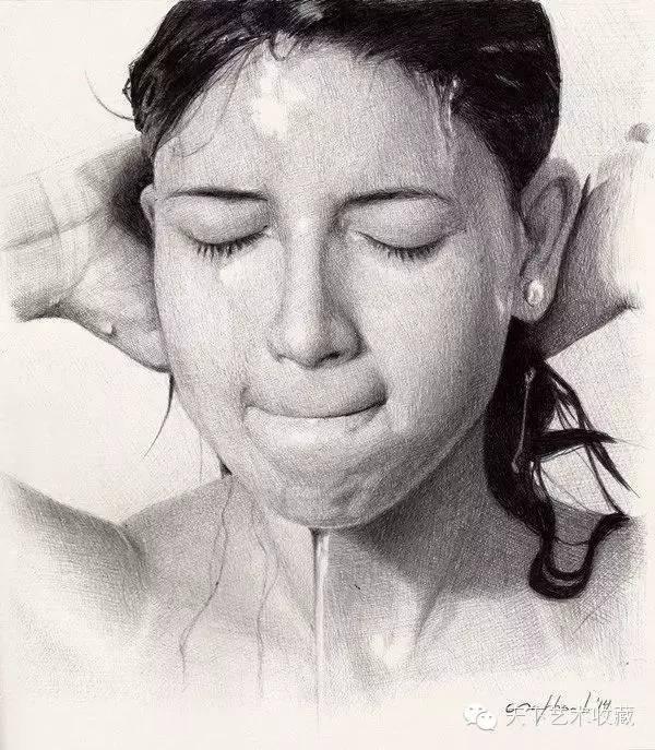 lorenzana圆珠笔素描肖像画