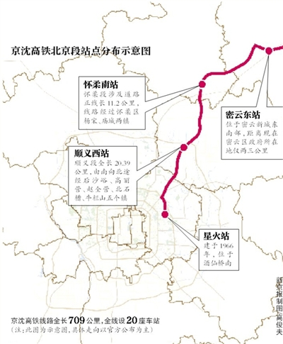 """新京报讯 (记者吴为)记者昨日获悉,酝酿已久的北京至沈阳铁路客运专线(即京沈高铁)北京段已经于2015年12月30日正式开工建设。北京市范围线路设星火、顺义西、怀柔南、密云东4个车站。建成通车后,从密云""""进城""""只需一刻钟。"""