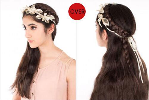 将后面的绑带在左右两侧头发固定的位置绑成好看的蝴蝶结.