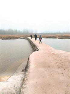 昨天,新洲区辛冲街干河村乡民经过沙河上的便民桥。