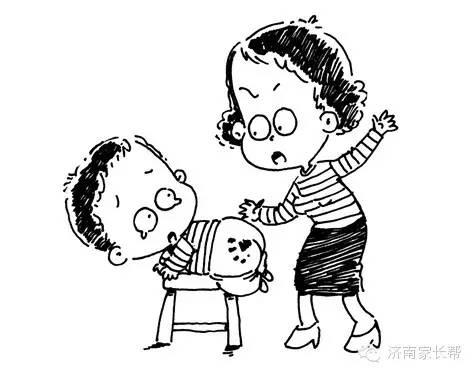 母亲呵护孩子手绘