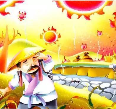 十个太阳就像十个大火球,不顾一切地散发着光和热,烤干了大地,烤焦了图片