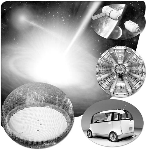"""左上图 黑洞艺术想象图。(喻京川创作) 右上图 """"神舟十号""""载人飞船和""""天宫一号""""对接。(资料图片) 右中图 大型强子对撞机。(资料图片) 左下图 球面射电望远镜FAST。(资料图片) 右下图 无人驾驶汽车。(资料图片)"""