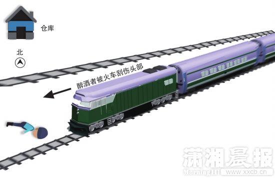 原标题:醉汉横穿铁轨时睡着 仅被火车擦伤头皮