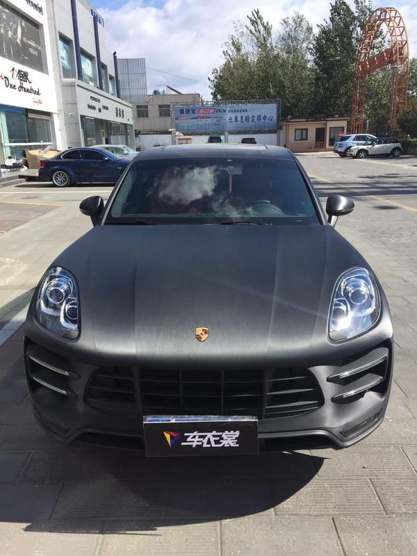 北京保时捷macan拉丝黑汽车外观改色价格多少高清图片
