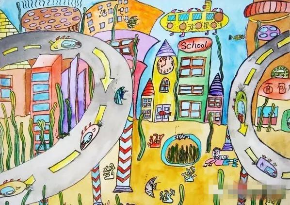 儿童创想画—未来都市