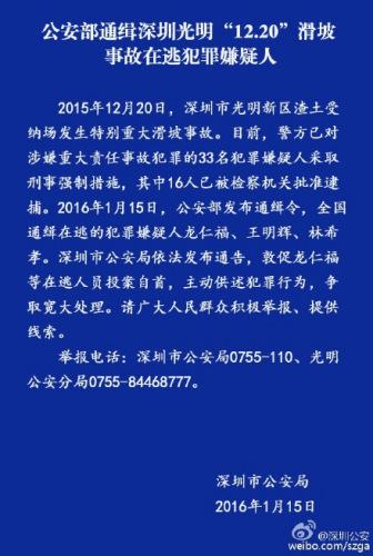 中新网1月15日电 据深圳市公安局官方微博消息,2015年12月20日,深圳市光明新区渣土受纳场发生特别重大滑坡事故。目前警方已对涉嫌重大责任事故犯罪的33名犯罪嫌疑人采取刑事强制措施,其中16人批准逮捕。