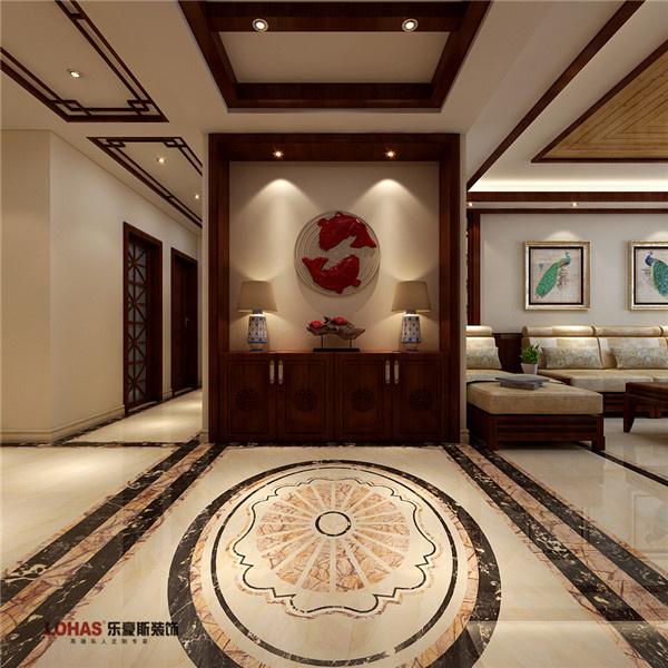 新中式走廊吊顶木线条