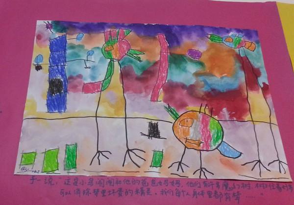 的哥哥在绘画课老师的引领下画出了这么一幅美丽的画,ivy妈妈初次图片