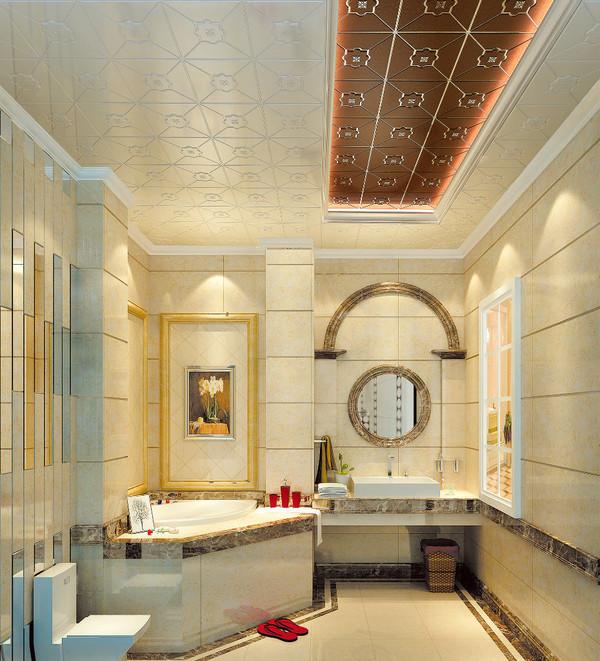 这一款米黄色的集成吊顶与厨房的墙砖以及地板砖颜色相得益彰,搭配得图片