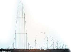 """""""死亡过山车""""从510米的高度俯冲下来之后,再以100米每秒的加速度进入7个大回旋。"""