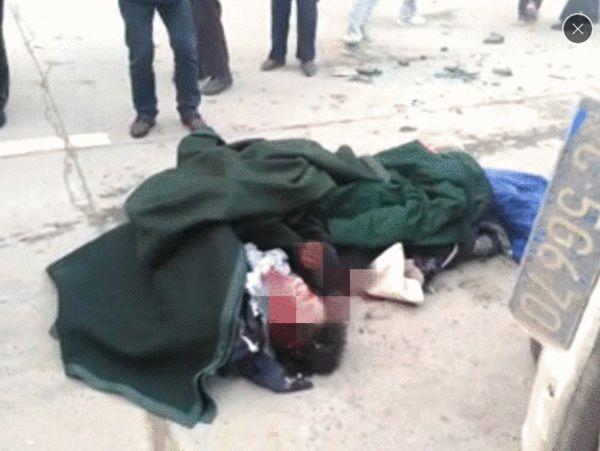 事故现场图片,有学生被碾压