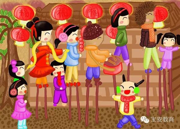 宝安小学生手绘漫画恭祝新年