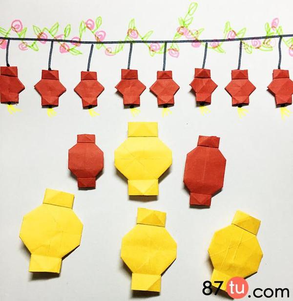 儿童折纸小灯笼折纸图解教程图片