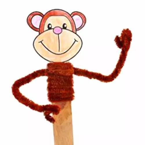 小猴纽扣贴画