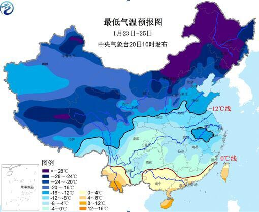23-25日最低气温预告图。