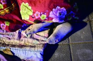 一个年轻人裹着被子睡在马路边,双脚露在外面