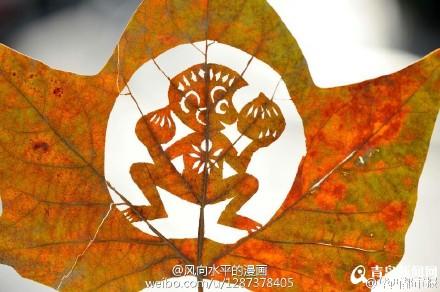 树叶镂空简笔画-网友创作猴年叶子画 美猴王惟妙惟肖