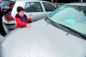 小朋友在玩弄掉落在汽车上的冰珠。 广州日报记者陈枫摄