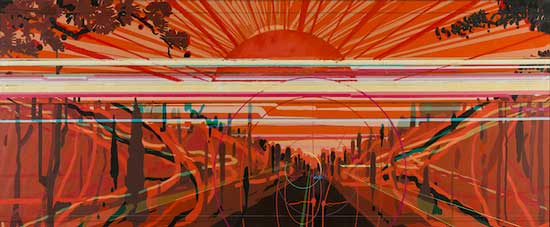 刘�|-Eastward-紫气系列-布面油画-180×440cm-2010