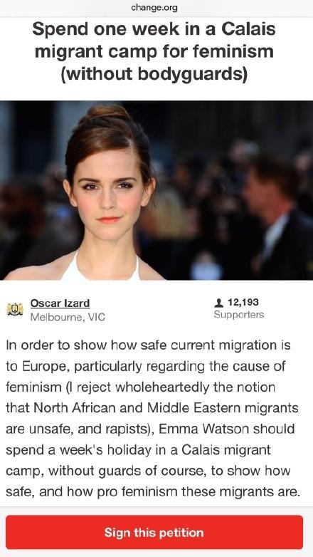 """说起艾玛·沃特森,这次躺枪也不是毫无理由,在德国新年大规模性侵案之后,欧洲难民移民问题发生巨大争议,而艾玛又是一直致力于为女性争取权益的""""女权主义者"""",并且她曾在2015年9月发推文表示""""欢迎难民"""",于是被反对难民的群众当成""""靶子""""。一时间,""""送艾玛去难民营体验生活""""成为热门话题。"""
