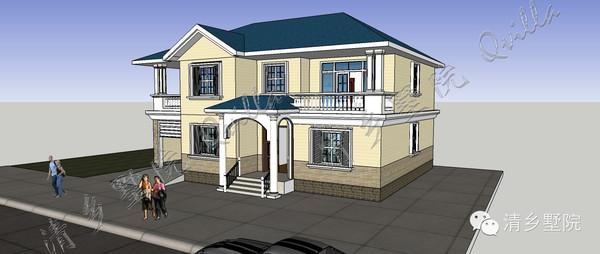 采用坡屋顶,外观造型简洁大方,色彩明快,房间尺度设计适宜,空间利用率