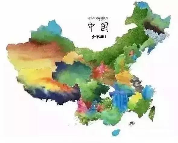用水墨勾画中国地图,用线条勾勒出各个省市(直辖市)