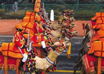 26日,印度新德里,印度举行共和国日阅兵,骆驼骑兵方阵接受检阅成为一大亮点。图/CFP
