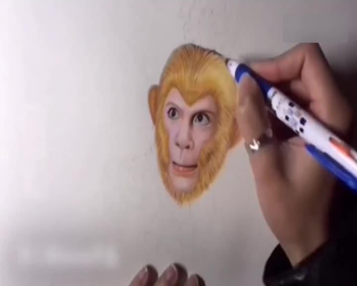 设计师手绘六小龄童版美猴王 经典大圣跃然纸上