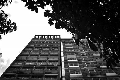 """两栋高楼的顶部曾经""""贴在一同""""。新华社发"""