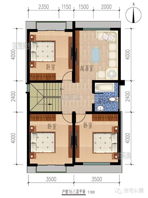 10套新农村3层自建房户型 含平面图纸图片