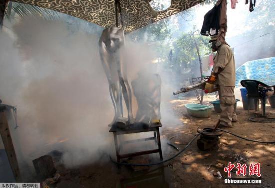 玻利维亚的圣克鲁斯市,工作人员正在进行消毒。由埃及蚊传播的寨卡病毒目前已在全球20多个国家和地区爆发严重疫情。 视频:世卫组织宣布寨卡病毒为全球突发公共卫生事件 来源:上海东方高清